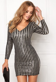 WYLDR Eveline Black striped sequin Bubbleroom.se