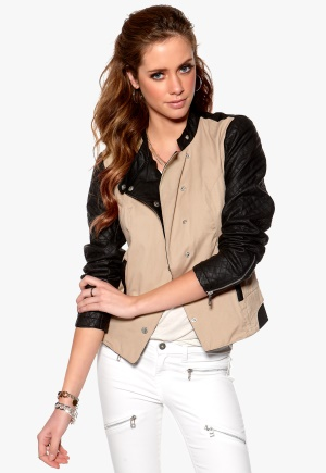 ONLY Licens PU Jacket Black/Beige Bubbleroom.se