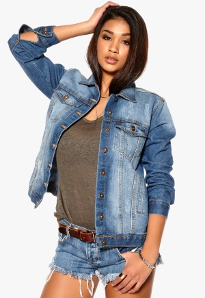 RUT&CIRCLE Reha Long Denim Jacket 686 MD Wash Bubbleroom.se
