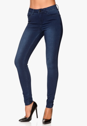 Pieces Just Jute Washed Legging Dark Blue Denim Bubbleroom.se