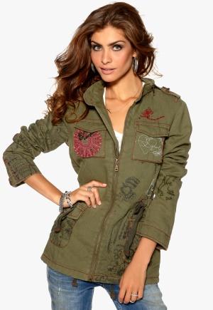 Desigual Ame Flor Jacket Verde Milita Bubbleroom.se