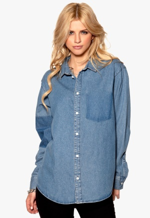 CHEAP MONDAY Twotone Denim Shirt Left Eye Blue Bubbleroom.se