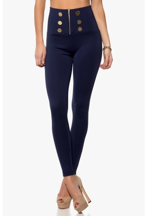 Chiara Forthi High Waisted Zip Legging Dark Blue Bubbleroom.se