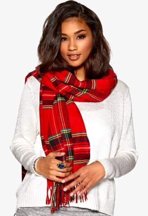 SALLY&CIRCLE Must Check Fringe Scarf 753 Red Check Bubbleroom.se