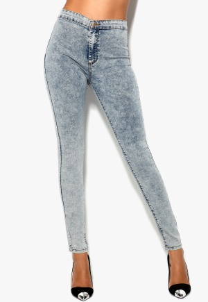 Mixed from Italy High Waisted Skinny Jeans Light Blue Snow Bubbleroom.se