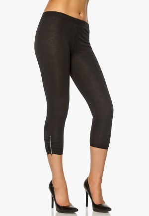 Pieces Mesella Zip 3/4 Leggings Black Bubbleroom.se