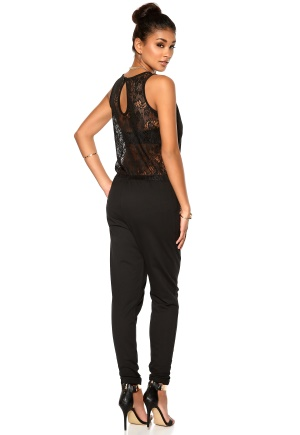 Pieces Aia SL Lace Jumpsuit Black Bubbleroom.se