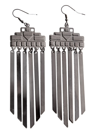 Pieces Otylia Earrings Gunmetal Bubbleroom.se