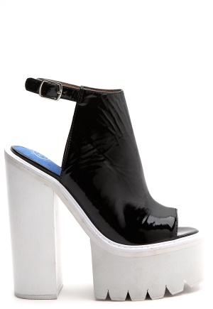Jeffrey Campbell Barclay Black pat/white sole Bubbleroom.se