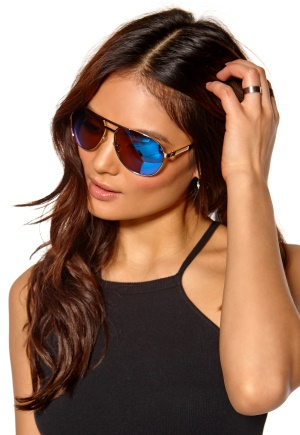 Le Specs Just Mauid Sunglasses Gold/Sand/Blue Bubbleroom.se