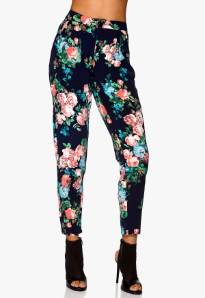 Mixed from Italy Rose Flower Print Trouser Navy Bubbleroom.se