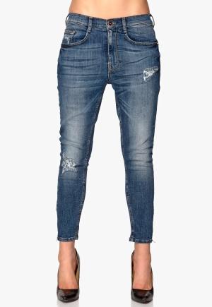 77thFLEA Superstretch Girlfried Jeans Mid blue Bubbleroom.se