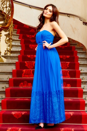 Model Behaviour Sanna Maxi Dress Cobolt Blue Bubbleroom.se