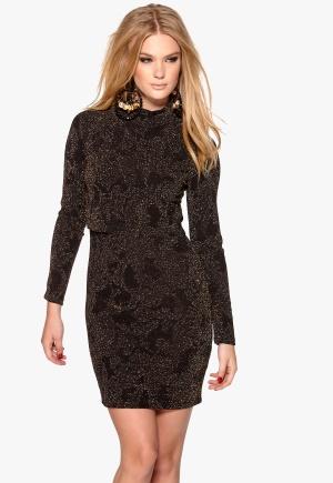 Chiara Forthi Overlayed Dress Black/Gold M