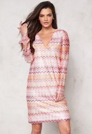 DRY LAKE Ziczac Short Dress Pink Sunset XS