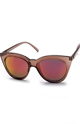 Le Specs Halfmoon Magic Sunglasses Tan W/Pink Revo Mirr Bubbleroom.se
