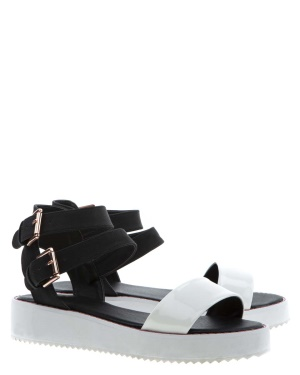 Have2have Flatforms sandaler, Sally Svart och vit Bubbleroom.se