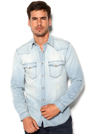 JACK&JONES Denim Shirt Medium Blue Denim Bubbleroom.se