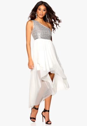 Model Behaviour Maria Maxi Dress Silver/White Bubbleroom.se