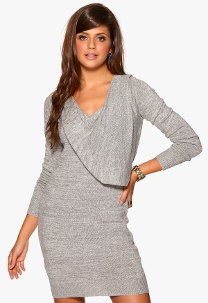 OBJECT Fay Knit Dress Light Grey Melange Bubbleroom.se