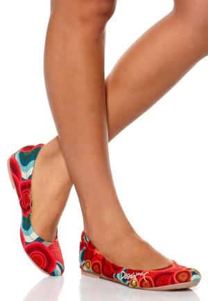 Desigual Ballerina Shoe Rojo Clavel Bubbleroom.se