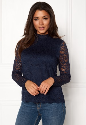 VERO MODA Freja Lace High Neck Top Navy Blazer S thumbnail
