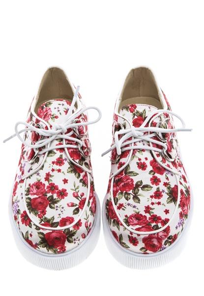 Have2have Blommiga creepers, Flower Röd och vit Bubbleroom.se