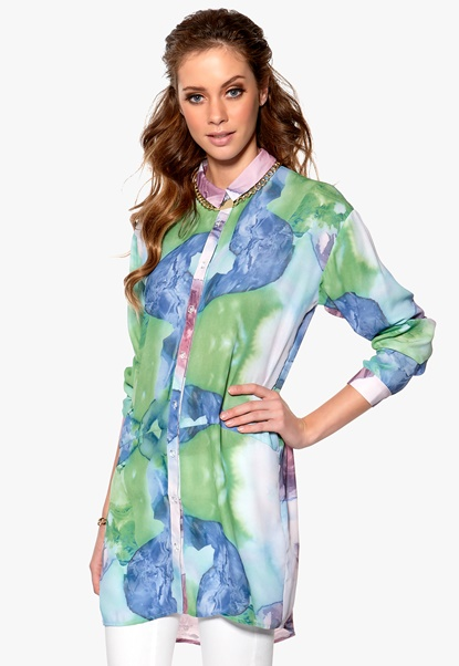 SELECTED FEMME Dazzy Long Shirt Jet Stream Bubbleroom.se