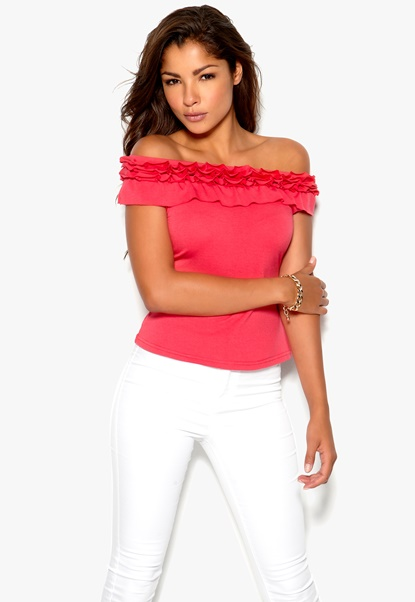 Chiara Forthi Anya Off-Shoulder Top Korallrosa Bubbleroom.se
