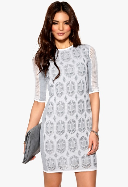 DAGMAR Hanima Lace Dress Tonal Grey/White Bubbleroom.se