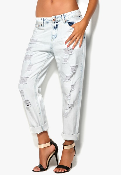 Mixed from Italy Ripped Boyfriend Jeans Bleach Bubbleroom.se