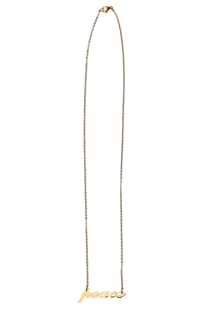 Bijoux by Us Stainless Peace Necklace Gold Bubbleroom.se