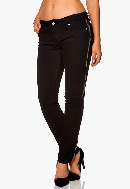 D.Brand Slim Fit Jeans Zipper Black Bubbleroom.se
