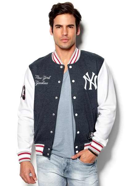 Majestic Burnside Fleece Letterman Navy Bubbleroom.se