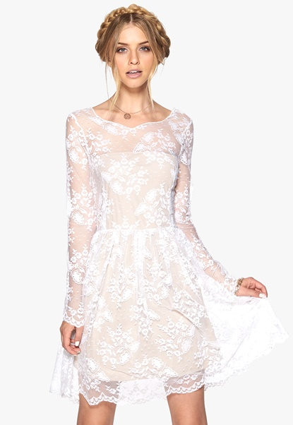 Make Way Nix Dress White/Nude Bubbleroom.se