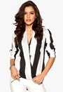 Rut & Circle Camille Wrap Blouse 537 Black/White Stri Bubbleroom.se