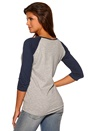 Sally & Circle Price Mandy 3/4 Top Lt Grey mel/Blue