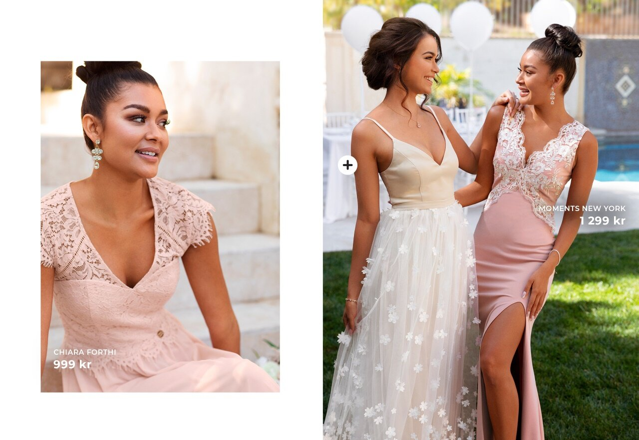 Shoppa snygga klänningar i rosa och lila