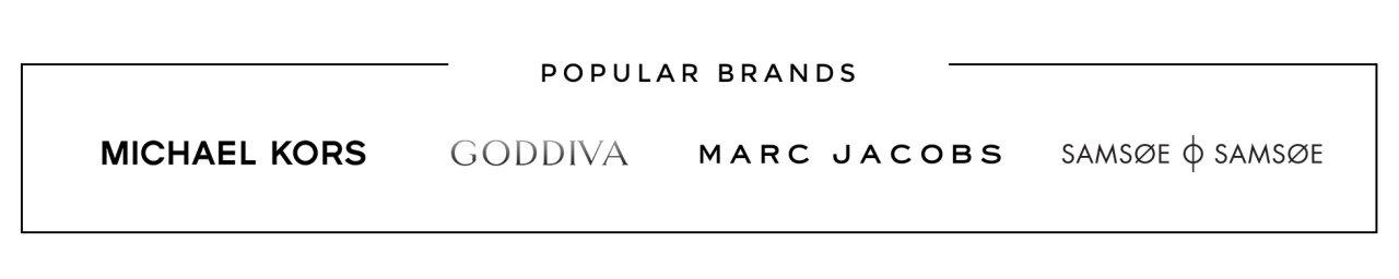 Populära varumärken, Michael Kors, Goddiva, Marc Jacobs och Samsøe Samsøe