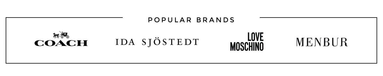 Populära varumärken - Coach, Ida Sjöstedt, Love Moschino och Menbur