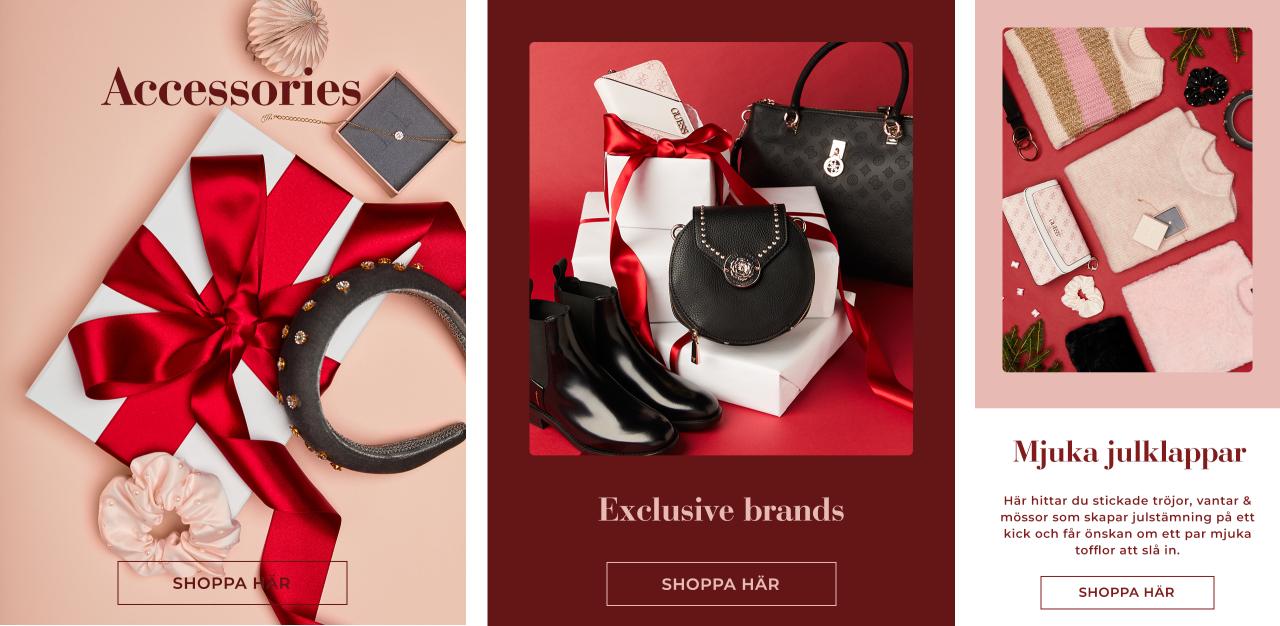 Variera dina julklappar, blanda mjuka julklappar med exklusiva varumärken eller fina accessoarer - Shoppa här