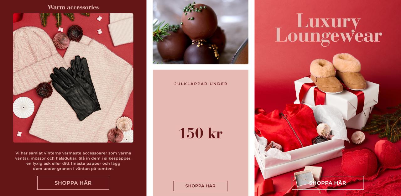 Variera dina julklappar - blanda lyxiga loungewear med varma accessoarer och fynda klappar under 150 kr - Shoppa här