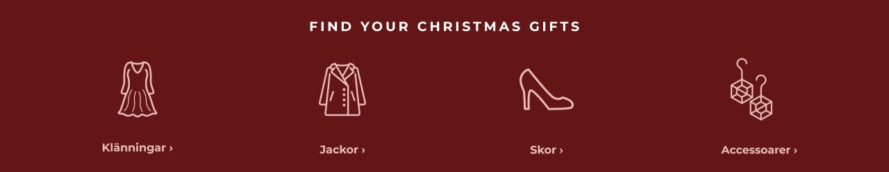 Hitta dina julklappar - shoppa klänningar, jackor, skor och accessoarer här.