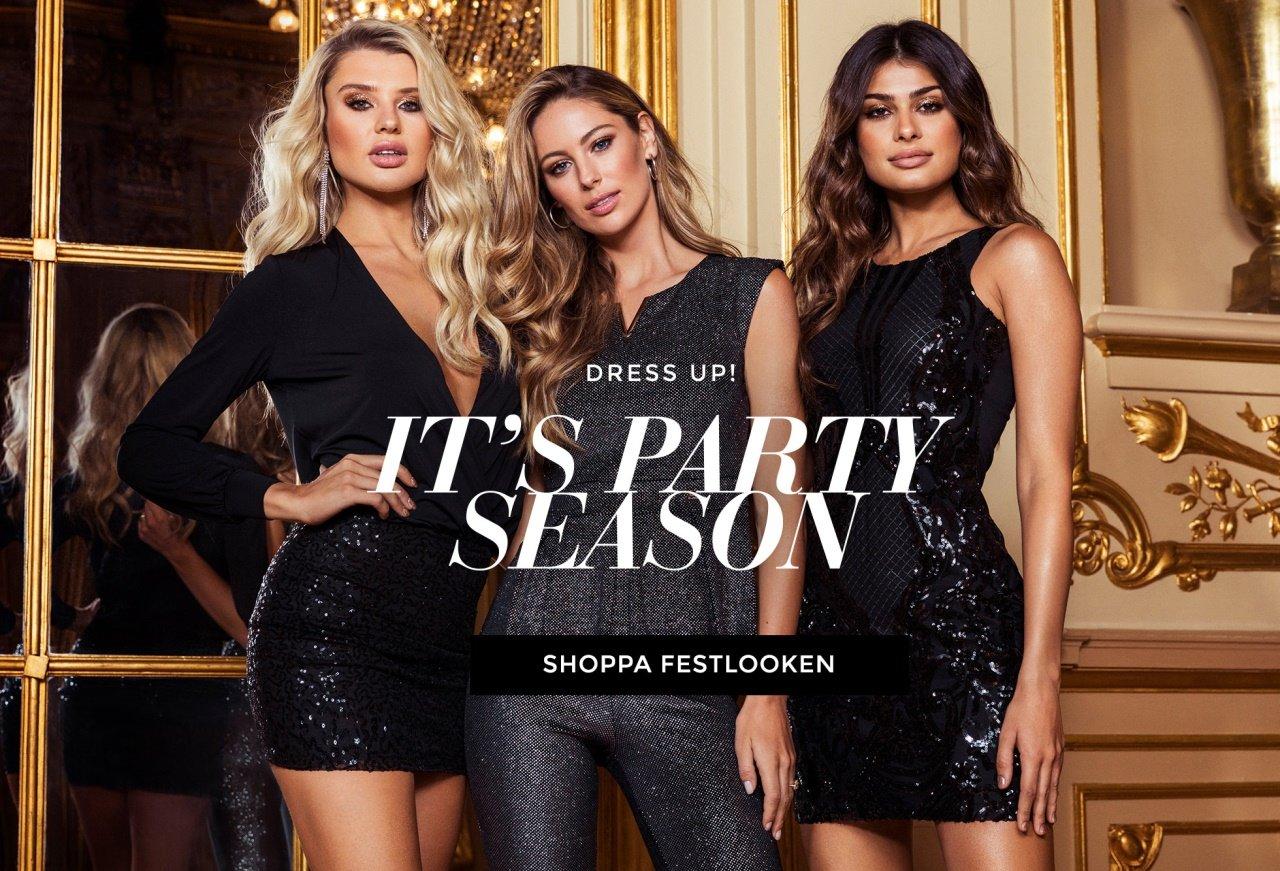 Shoppa paljettjklänningar och spetsklänningar från Chiara Forthi och Happy Holly