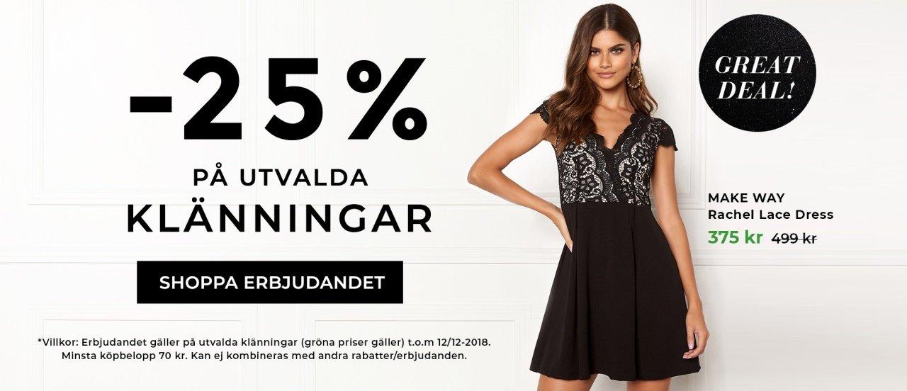 25% rabatt på utvalda klänningar, shoppa här