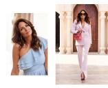 Midiklänning i blått och en powersuit i rosa - Carolina Gynning for Bubbleroom