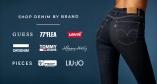 Jeansvarumärken du hittar på Bubbleroom - Guess, 77thFlea, Levi's, Dr.Denim, Tommy Jeans, Happy Holly, Pieces, Freddy, Tiffosi