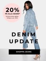 Great deal: -20% på alla jeans* Gröna priser gäller. Giltig tom 27/2-2019. Shoppa nu!