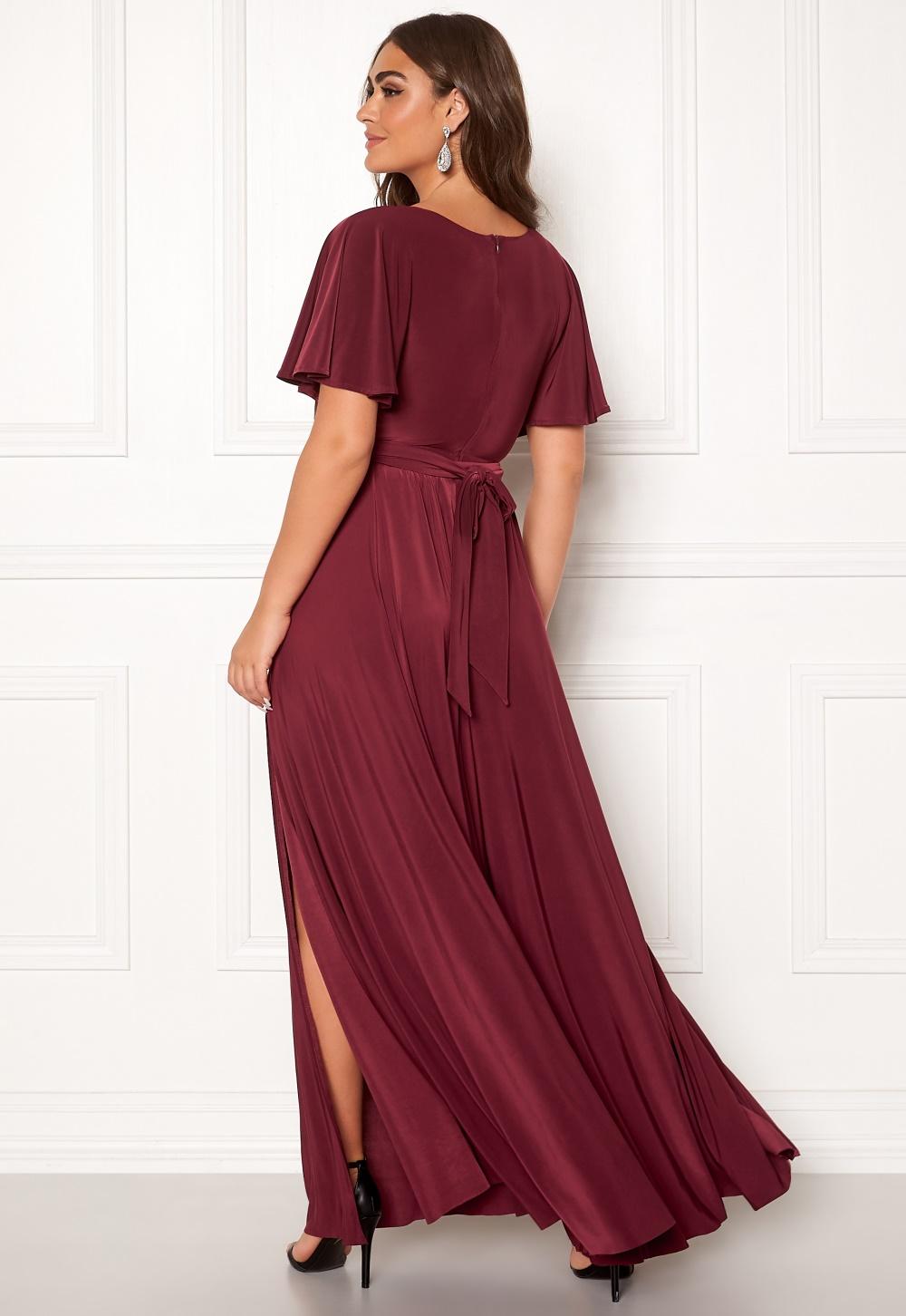 Goddiva Flutter Sleeve Maxi Dress Berry Bubbleroom