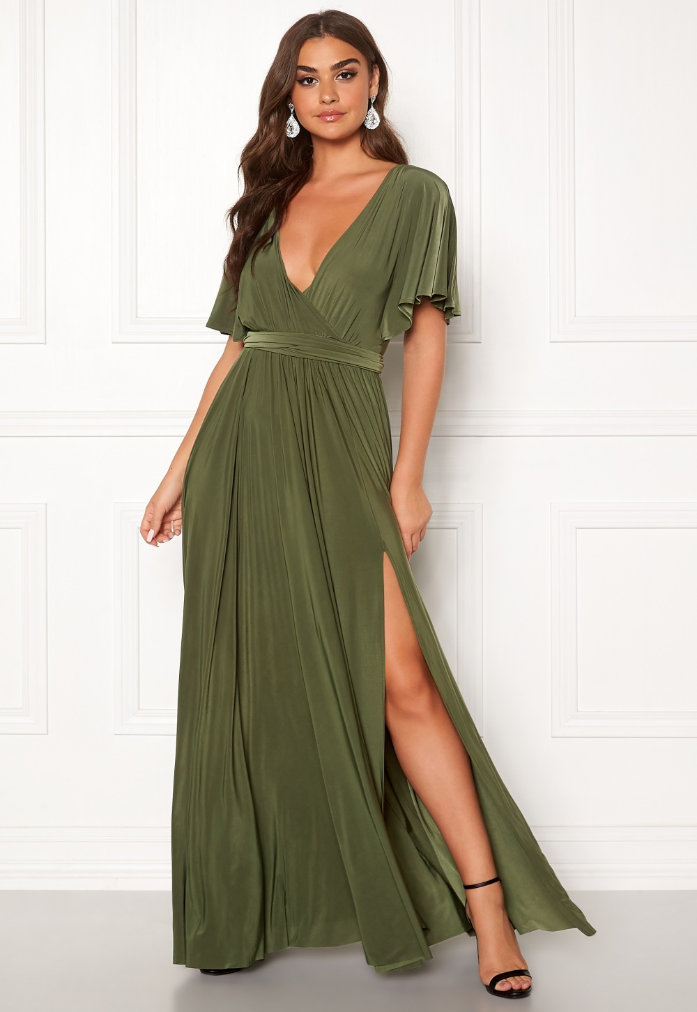 Goddiva Flutter Sleeve Maxi Dress Olive Green Bubbleroom
